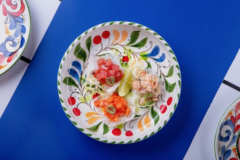 Трио тартар аргентинская креветка, тунец лойн, лосось (640 р.)