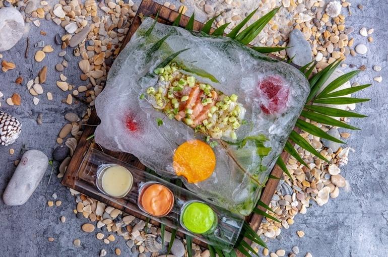 Севиче из мурманского лосося, морского окуня и трески - 700р